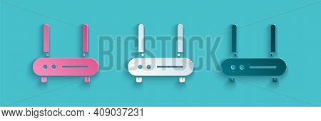 Paper Cut Router And Wi-fi Signal Icon Isolated On Blue Background. Wireless Ethernet Modem Router.