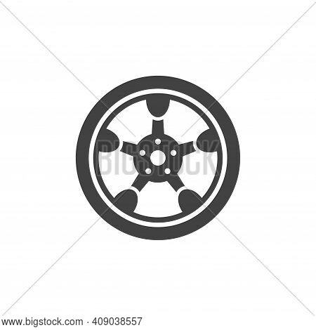 Car Disk Vector Logo. Black Sticker For Auto Repair Shops And Automobile Transport Services.