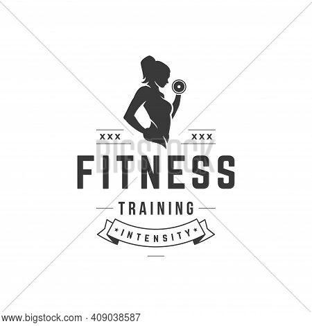 Intense Fitness Workout Vector Logo. Athletic Female Black Silhouette Lifts Dumbbell Strong Beauty W