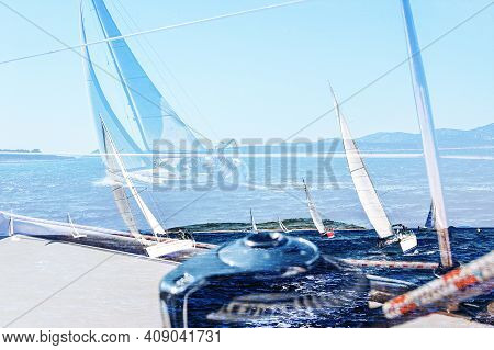 Yachting Double Exposure. Sailing In The Wind Through The Waves, Yachts At Sailing Regatta. Multi Ex