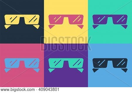 Pop Art Glasses Icon Isolated On Color Background. Eyeglass Frame Symbol. Vector