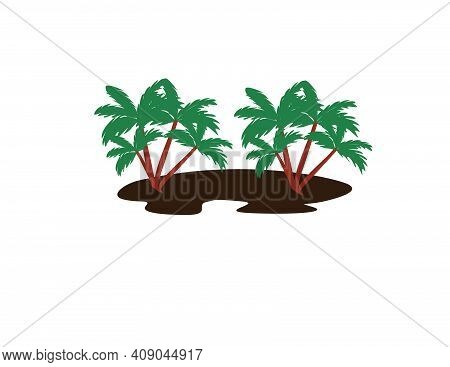 Some Green Tree Vector With Brown Soil. This Vector Is Very Suitable To Complement Your Design. Simp