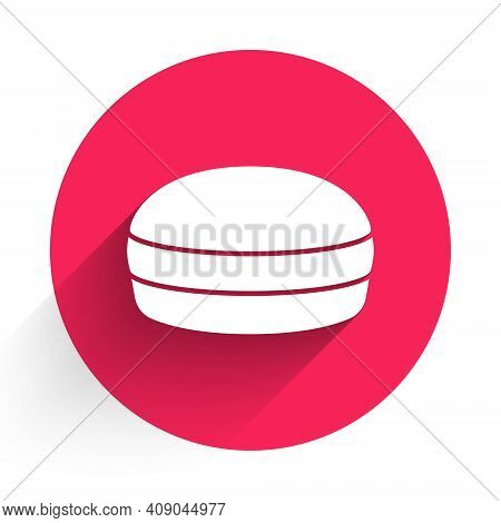 White Macaron Cookie Icon Isolated With Long Shadow. Macaroon Sweet Bakery. Red Circle Button. Vecto