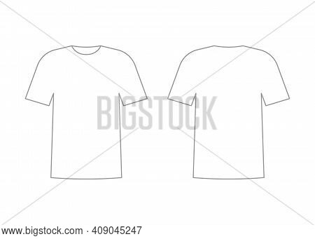 Mens White T-shirt Outline Template With Short Sleeve. Shirt Mockup In Front And Back View. Vector I