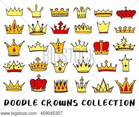 Crowns Doodle Drawing Collection. Hand Drawn Queen, King Or Princess Crown Icons Set Isolated On Whi