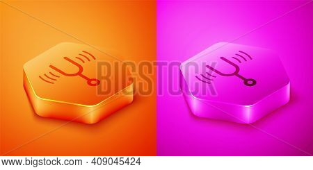 Isometric Musical Tuning Fork For Tuning Musical Instruments Icon Isolated On Orange And Pink Backgr