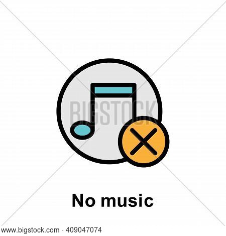 Ramadan No Music Outline Icon. Element Of Ramadan Day Illustration Icon. Signs And Symbols Can Be Us