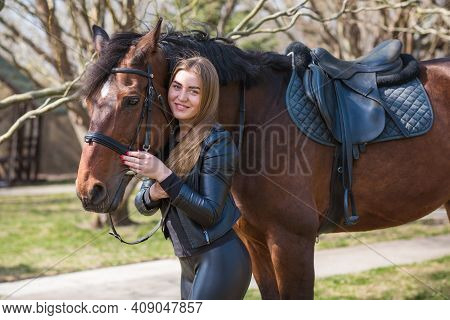 Spring - Summer Season, Concept Of Hobby, Woman With A Horse On A Nature, Relationship Human And Ani