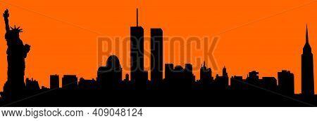 Vector City Skyline Silhouette - Illustration,  Town In Orange Background,  New York City