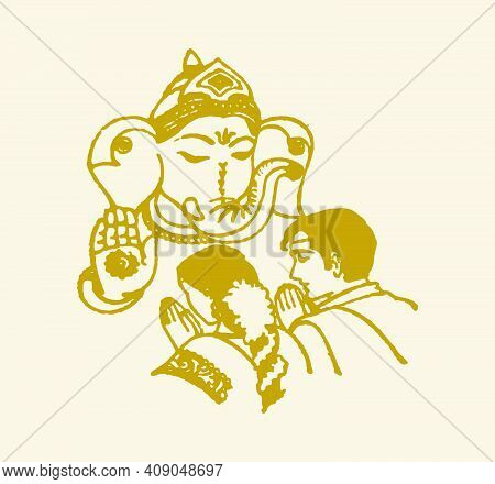 Sketch Of Lord Ganesha Blessing Newly Married Bride And Groom Editable Outline Illustration