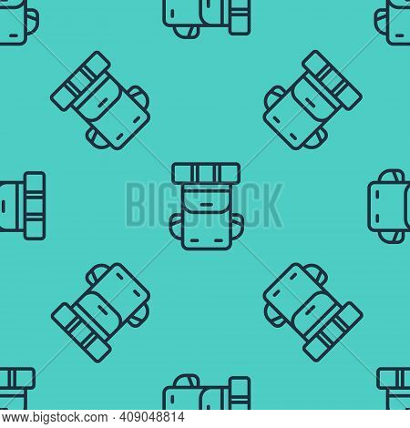 Black Line Hiking Backpack Icon Isolated Seamless Pattern On Green Background. Camping And Mountain