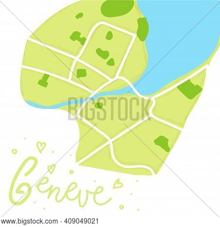 Cartoon Colored Flat Map Of The Center Of Geneve. The Land Is Green. White Mail Streets. Funny Cute