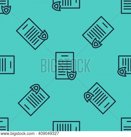 Black Line Firearms License Certificate Icon Isolated Seamless Pattern On Green Background. Weapon P