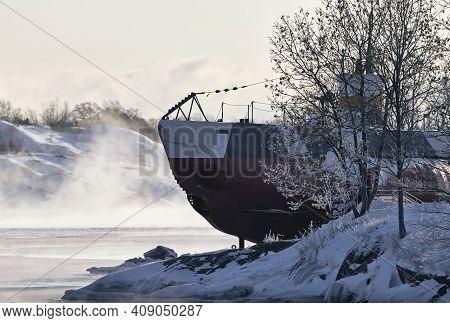 Helsinki, Finland - January 15, 2021: A Finnish Ww Ii Era Museum Submarine Vesikko In The Suomenlinn