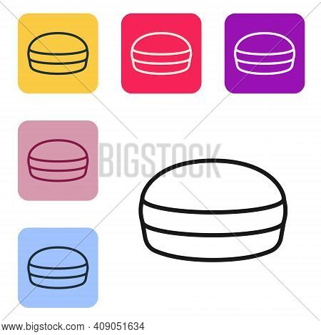 Black Line Macaron Cookie Icon Isolated On White Background. Macaroon Sweet Bakery. Set Icons In Col