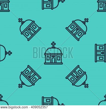 Black Line Santorini Building Icon Isolated Seamless Pattern On Green Background. Traditional Greek