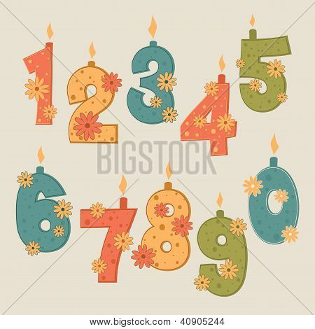 vector number candles