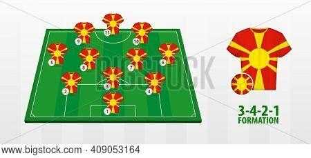Macedonia National Football Team Formation On Football Field. Half Green Field With Soccer Jerseys O