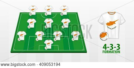 Cyprus National Football Team Formation On Football Field. Half Green Field With Soccer Jerseys Of C
