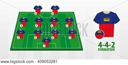 Liechtenstein National Football Team Formation On Football Field. Half Green Field With Soccer Jerse
