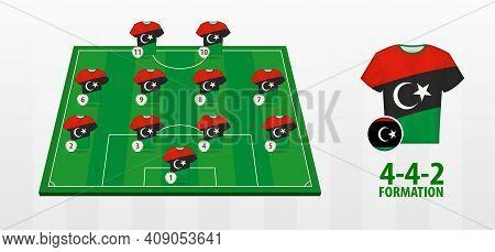Libya National Football Team Formation On Football Field. Half Green Field With Soccer Jerseys Of Li