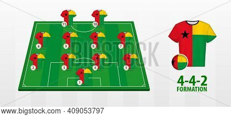 Guinea-bissau National Football Team Formation On Football Field. Half Green Field With Soccer Jerse