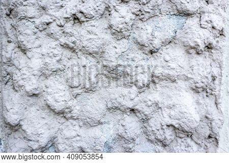Rough Concrete Wall For The Background. Cement Wall Texture For The Background. Covering The Foundat