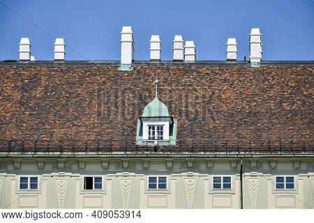 Tile Roof Medieval Building Of The Winter Residence Of The Austrian Imperial Court Of Hofburg - One