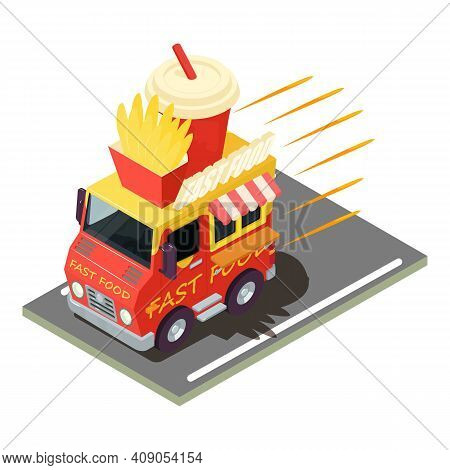 Fastfood Delivery Icon. Isometric Illustration Of Fastfood Delivery Vector Icon For Web