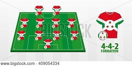 Burundi National Football Team Formation On Football Field. Half Green Field With Soccer Jerseys Of