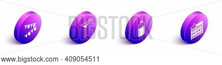 Set Isometric Carnival Garland With Flags, Martini Glass, Mulled Wine And Birthday Calendar Icon. Ve