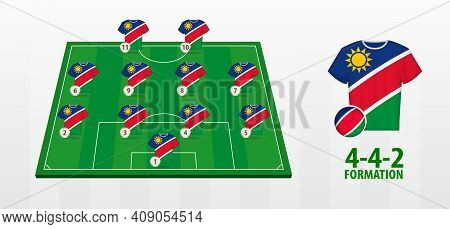Namibia National Football Team Formation On Football Field. Half Green Field With Soccer Jerseys Of