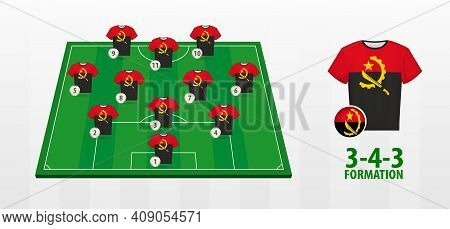Angola National Football Team Formation On Football Field. Half Green Field With Soccer Jerseys Of A