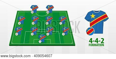Dr Congo National Football Team Formation On Football Field. Half Green Field With Soccer Jerseys Of