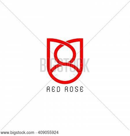Letter Pp Red Rose Linked Overlap Logo Vector
