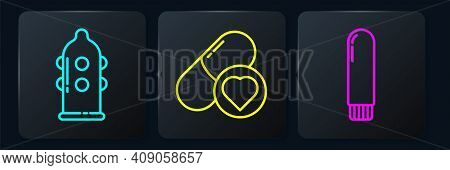 Set Line Condom, Dildo Vibrator And Pills For Potency, Aphrodisiac. Black Square Button. Vector