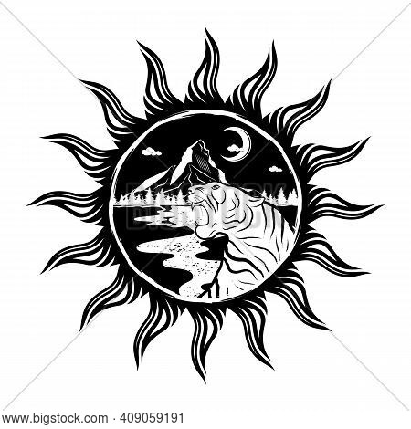 Furious Tiger On The Background Of Mountains, Forests And The Moon. Sacred Symbol. Black Sun. Grunge
