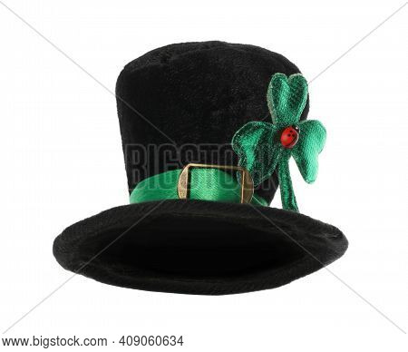 Leprechaun Hat With Green Clover Leaf And Ladybug Isolated On White. Saint Patrick's Day Accessory