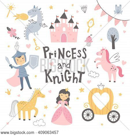Cute Vector Princess Set On White Background