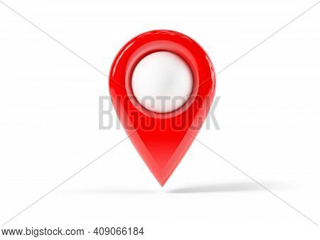 Red Map Point, Location Pin Isolated From The White Background. 3d Rendering