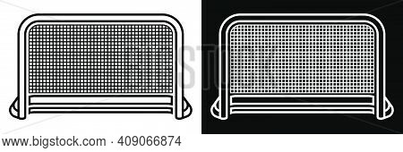 Ice Hockey Goal With Net, Icon. Team Sports. Active Lifestyle. Black And White Vector