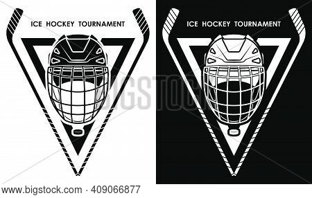 symbol, emblem of crossed sports sticks and black rubber puck for ice hockey competition. Hockey sports equipment. Active lifestyle. Vector
