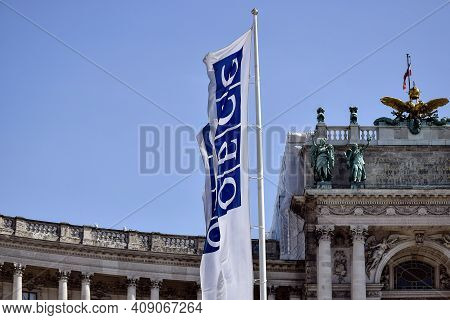 Vienna, Austria, May 2019: Flags Of The Osce Against The Background Of Medieval Building Of Winter R