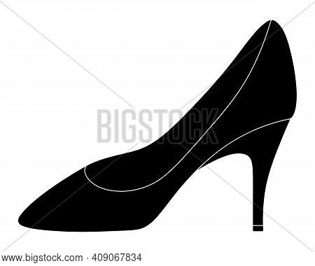 Shoe. Silhouette With A White Outline. Womens Shoes With Heels. Vector Illustration. Outline On An I
