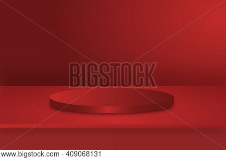 Vector,empty Vivid Metal Green Color Studio Table Room Background ,product Display With Copy Space F