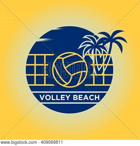 Volley Ball Palm Beach Logo Design Vector