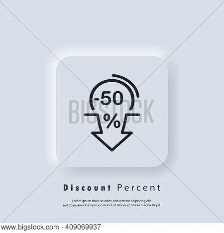 Discount Percent Arrow Down Icon. Minus 50 Percent. Arrow Down Icons. Sale Discount. Vector Eps 10.