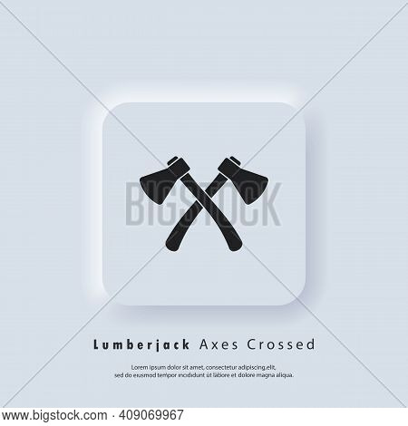 Lumberjack Axes Crossed Icon. Woodwork And Mechanic Labels, Badges, Emblems And Logo. Crossed Axes L