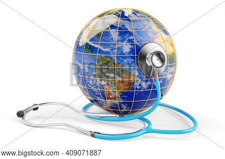 Earth Globe With Stethoscope. Global Healthcare Concept. 3d Rendering Isolated On White Background