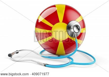 Macedonian Flag With Stethoscope. Health Care In Macedonia Concept, 3d Rendering Isolated On White B